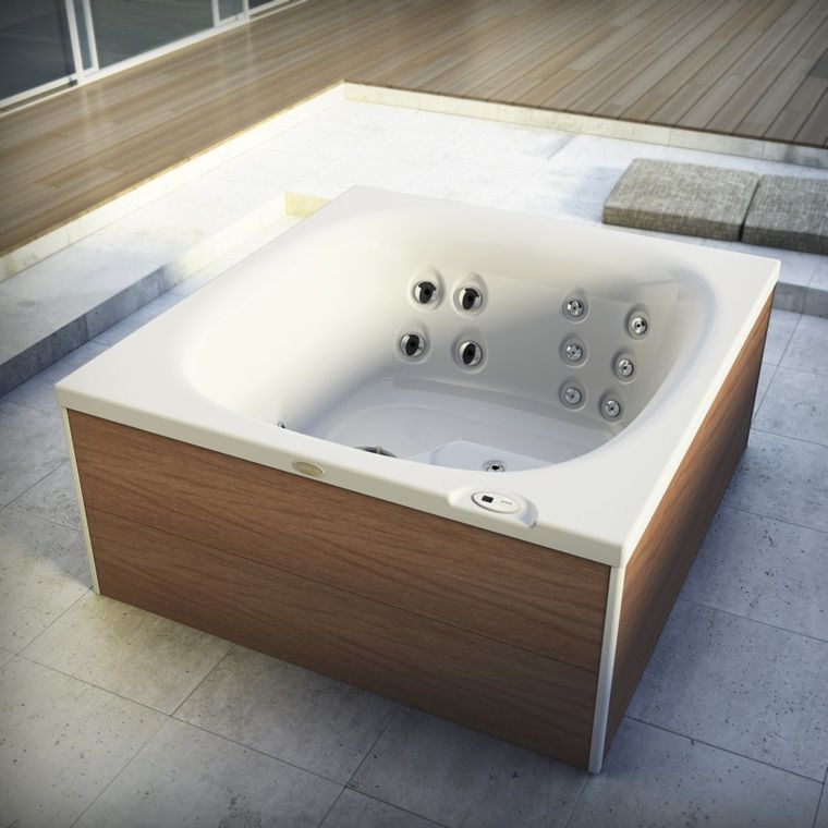 Built-in hot tub / rectangular / 2-seater / outdoor - CITY SPA by ...