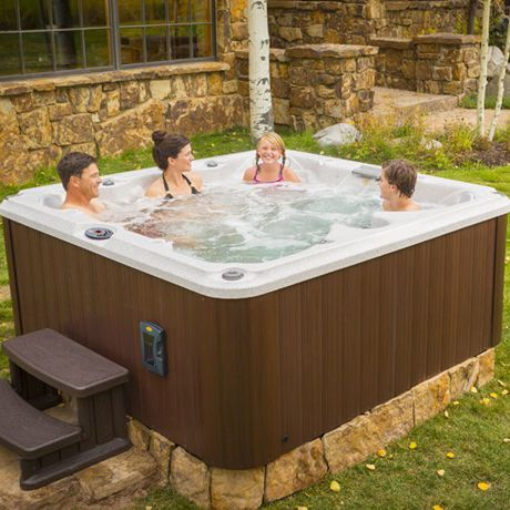 above ground spa landscape ideas in hot tub installation pool combination square outdoor