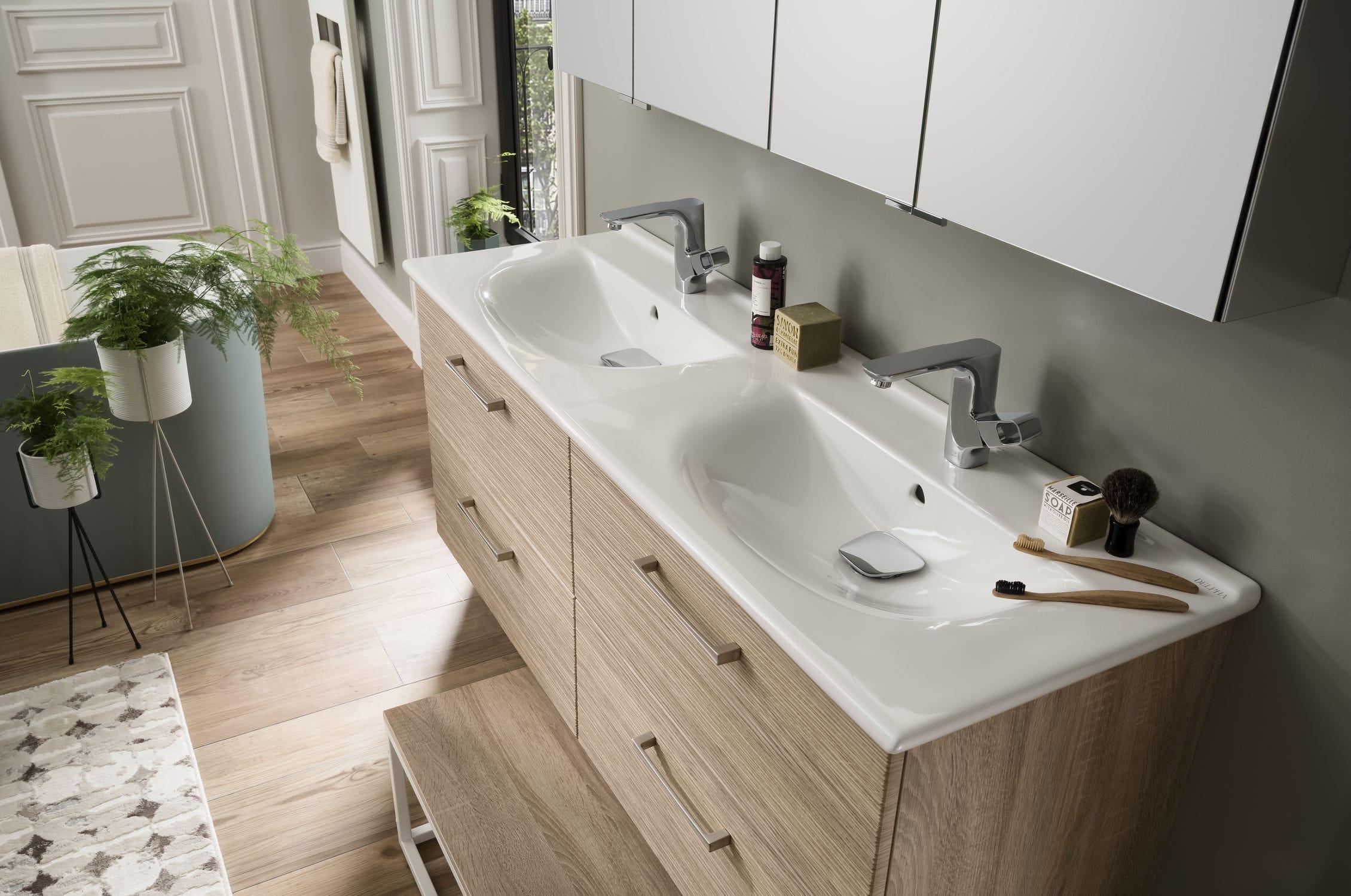 Contemporary bathroom / ceramic / oak / custom - UNIQUE Onde ...