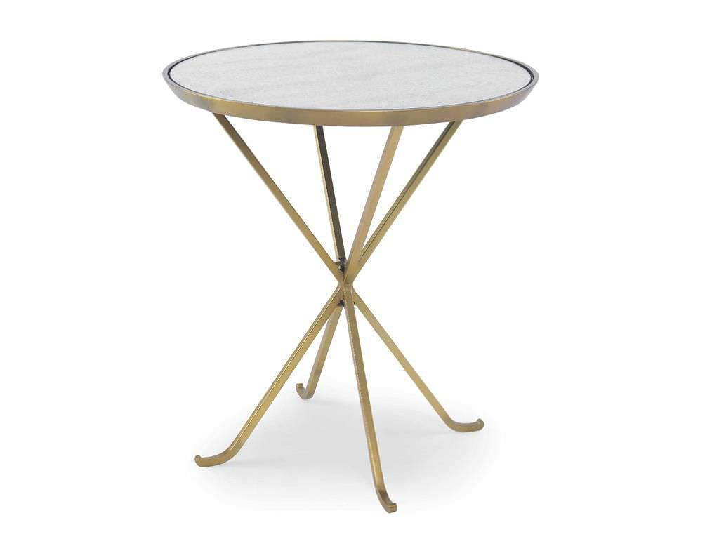 Contemporary Side Table Metal Stone Round GRAND By Aerin - White marble and metal round accent table