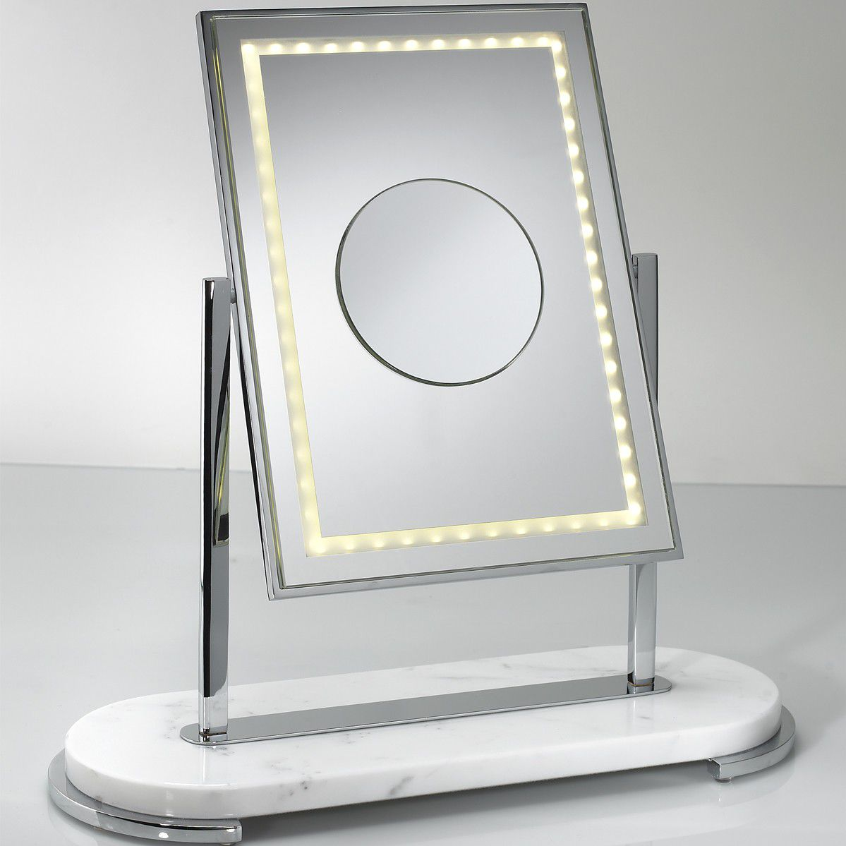 Table bathroom mirror / double-sided / illuminated / magnifying ...