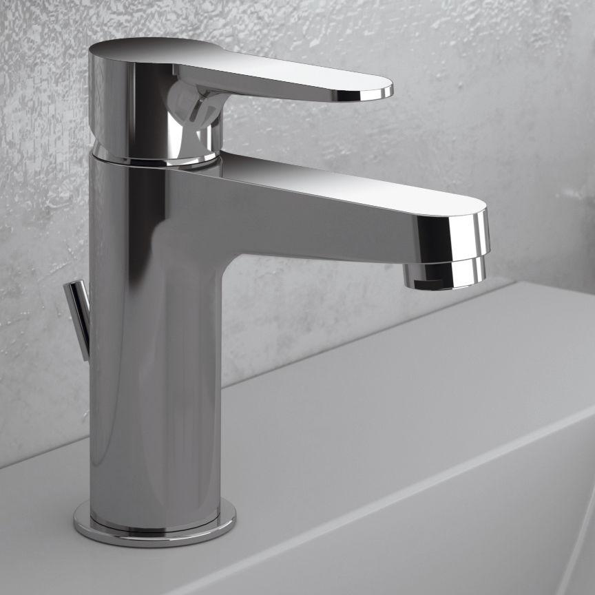 Washbasin mixer tap / chromed metal / chrome-plated brass / bathroom ...