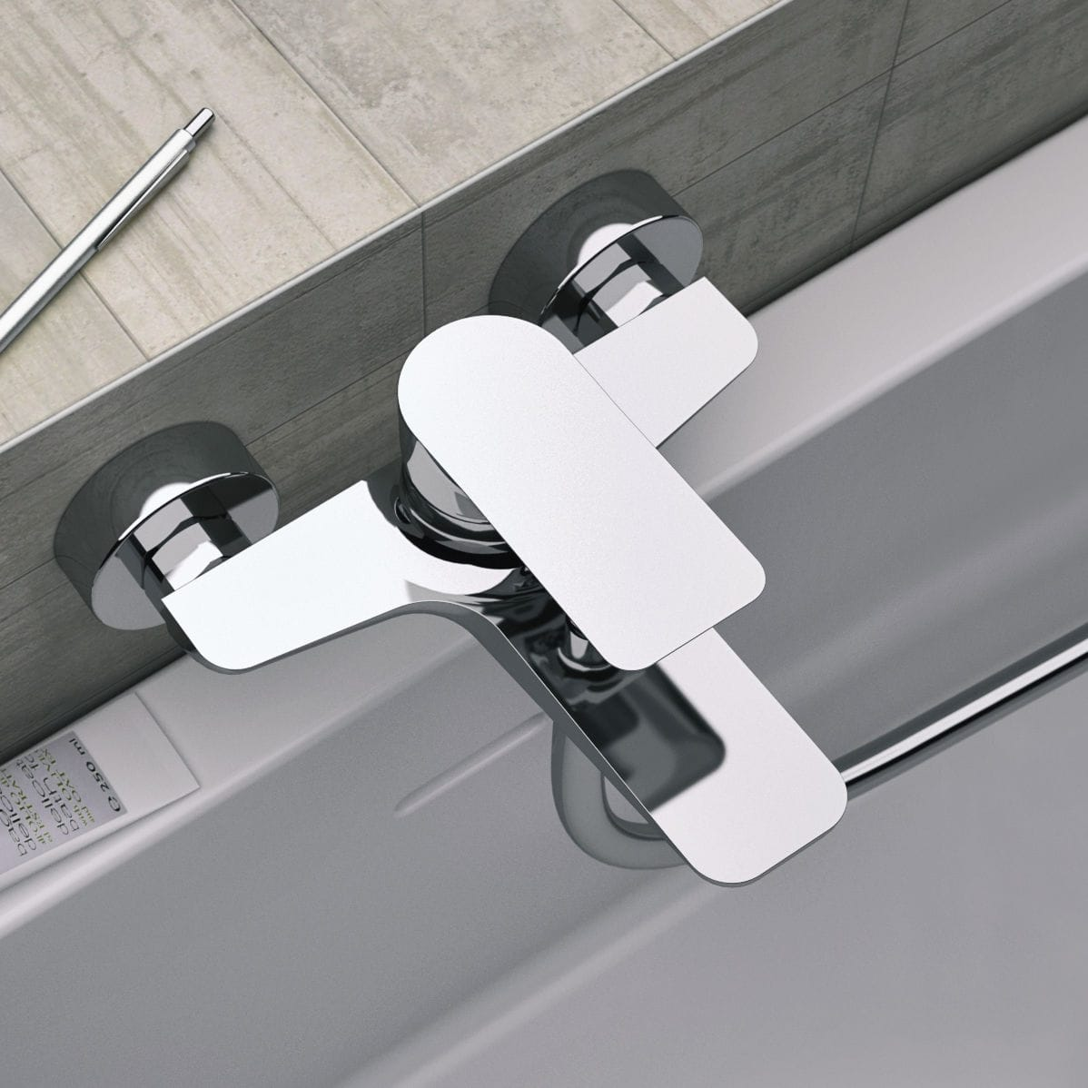 Bathtub mixer tap / wall-mounted / chromed metal / chrome-plated ...