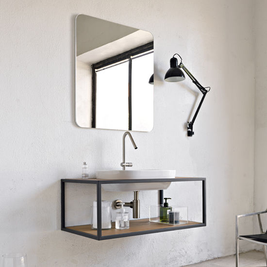 Wall-mounted washbasin cabinet / wooden / contemporary / with ...