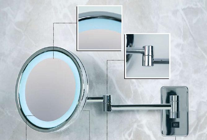 Wall Mounted Bathroom Mirror Magnifying Led Illuminated Contemporary Kristal Vision 950 O Or 550