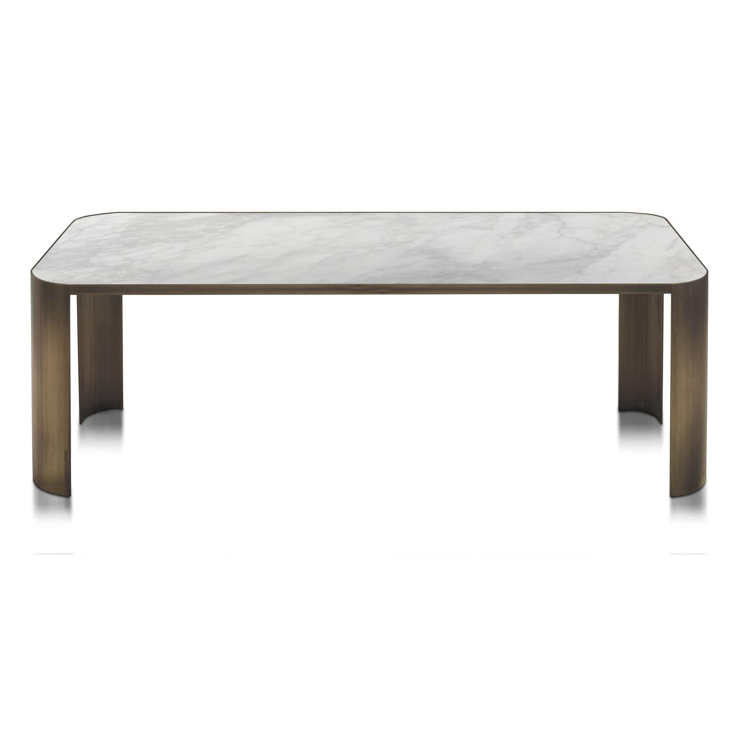 Contemporary dining table marble brass rectangular