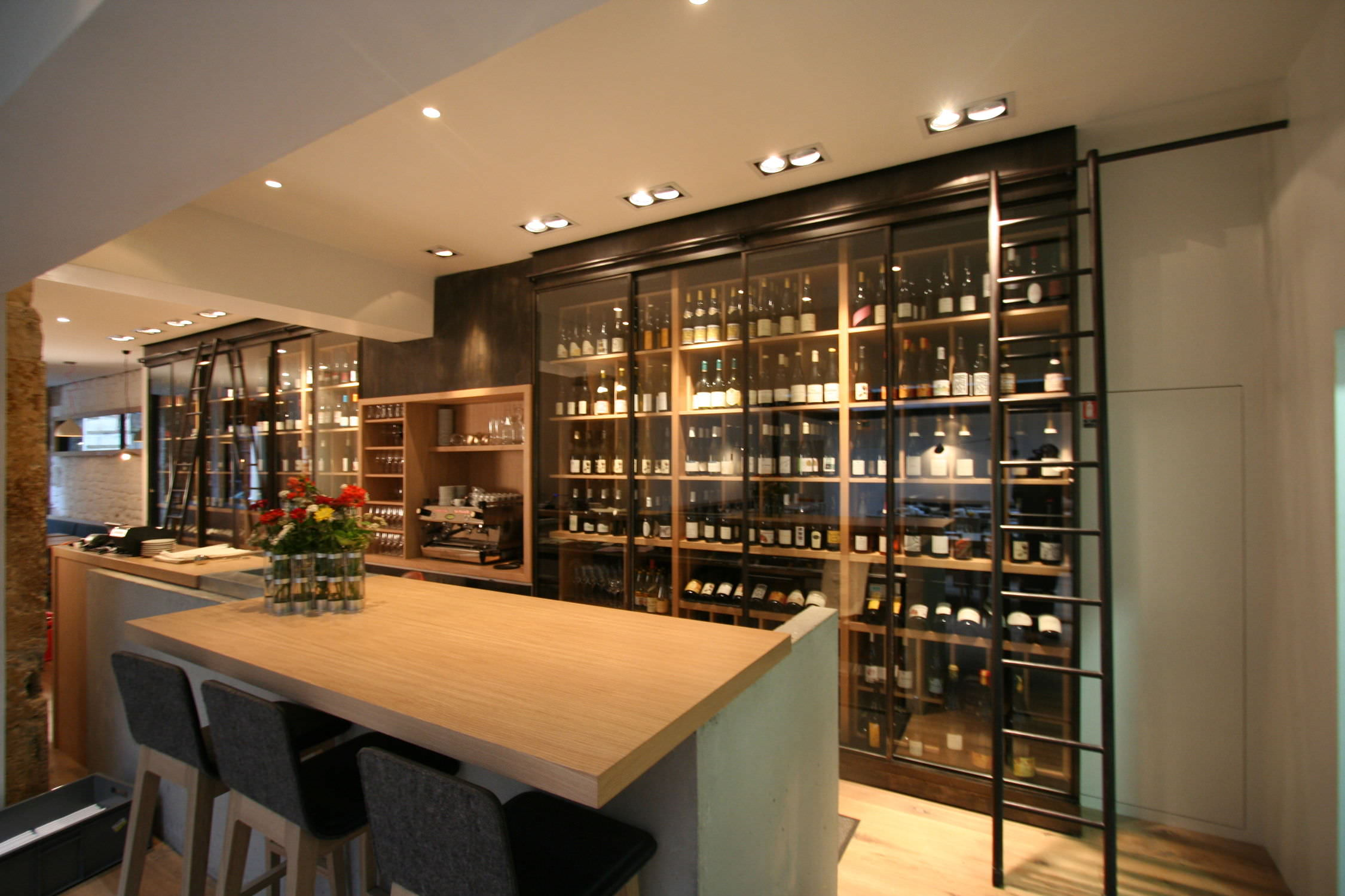 Commercial wine cabinet / built-in / wooden / custom - SATURNE ...