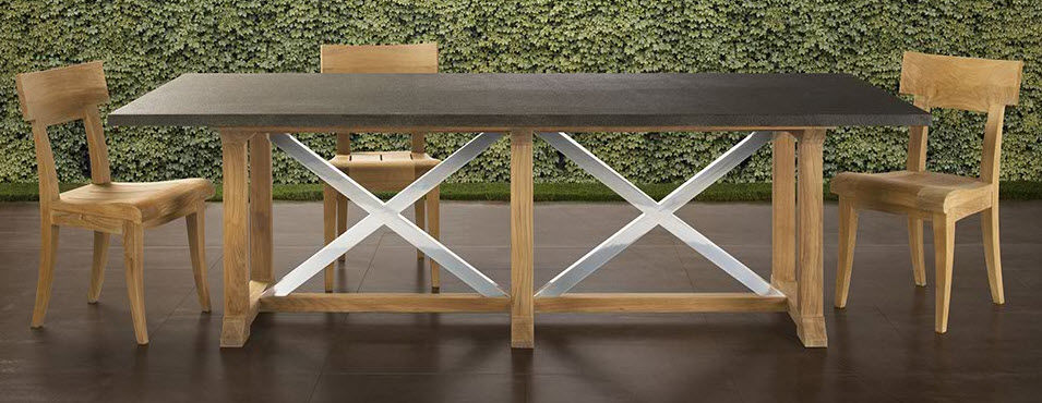 Contemporary Table Wooden Metal Rectangular DATCHA By - Teak and metal outdoor table