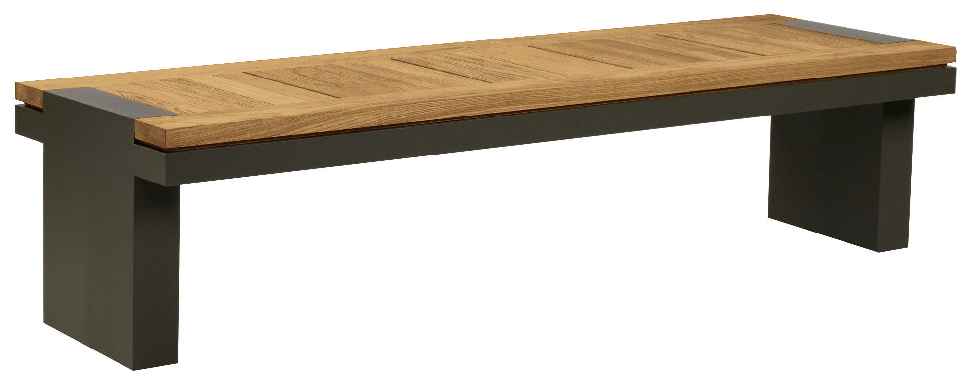 Garden bench contemporary teak PENINSULA by Terry Hunziker