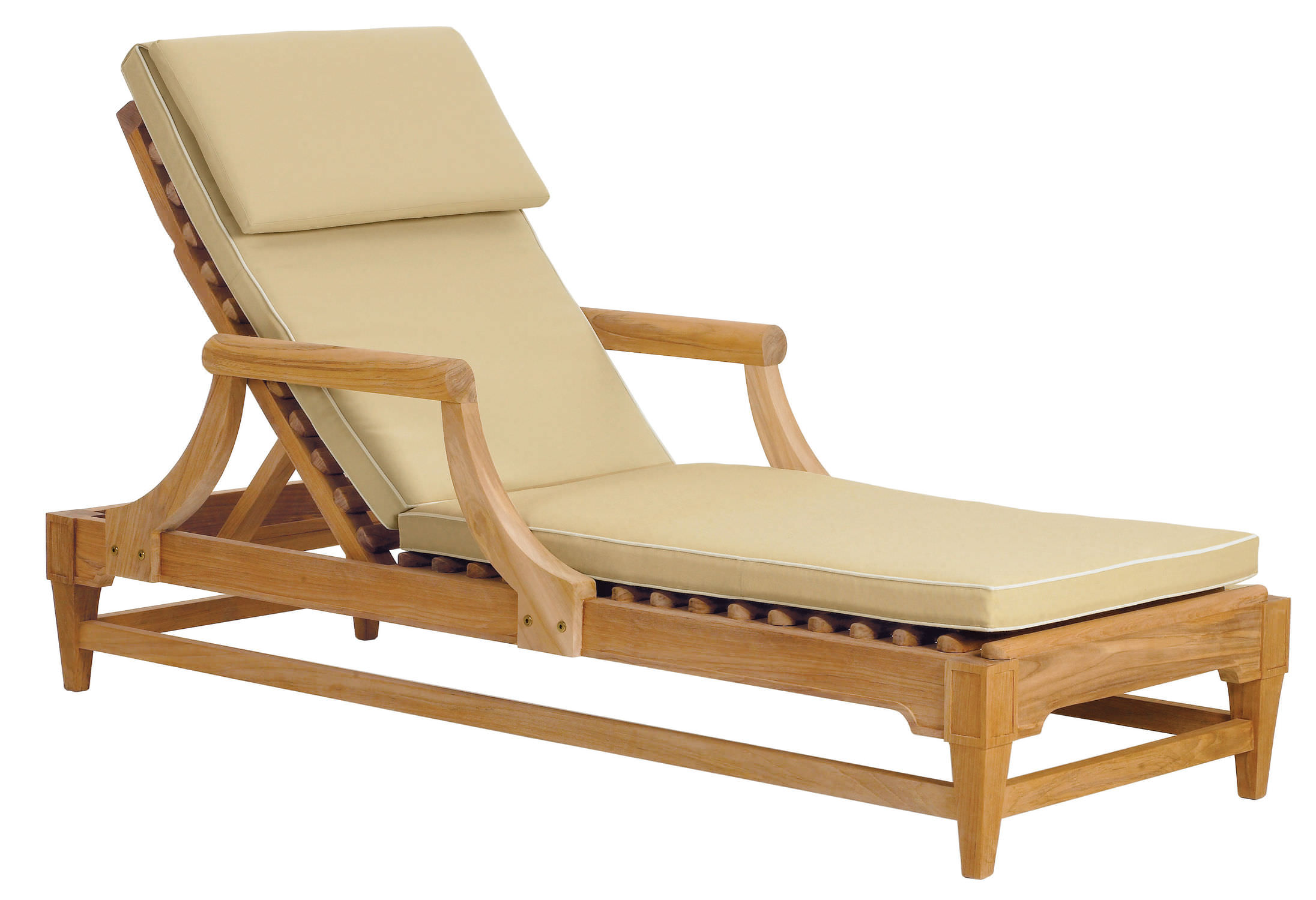 Traditional Sun Lounger / Wooden / Garden / Adjustable Backrest ...