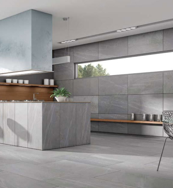 Kitchen Tile Wall Porcelain Stoneware Polished Living Stone Argent