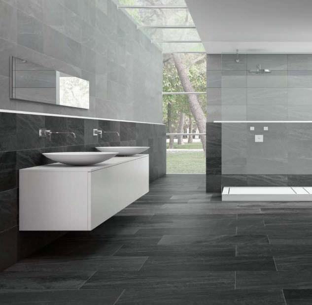 beautiful carrelage salle de bain gris fonce images - design ... - Salle De Bain Grise Et Noire