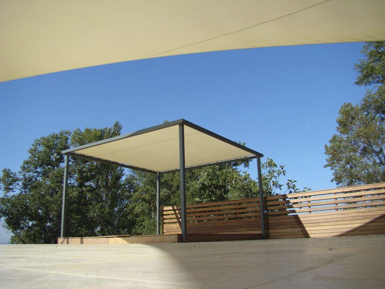 Self-supporting pergola / aluminum / fabric canopy & Self-supporting pergola / aluminum / fabric canopy - Grand Voile