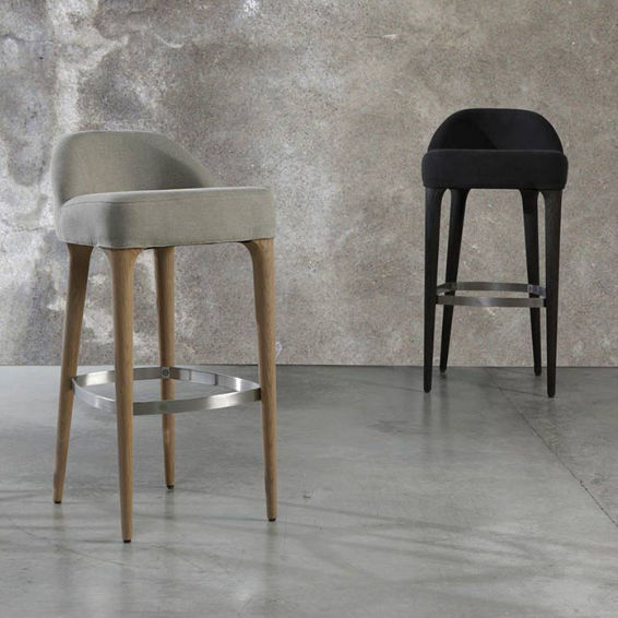 Contemporary bar stool wooden upholstered beige ORGANIC by Joan Lao