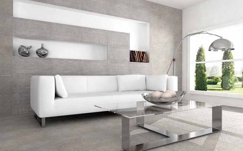 indoor tile living room floor porcelain stoneware realink kiev gris realonda - Salon Design Sol Gris
