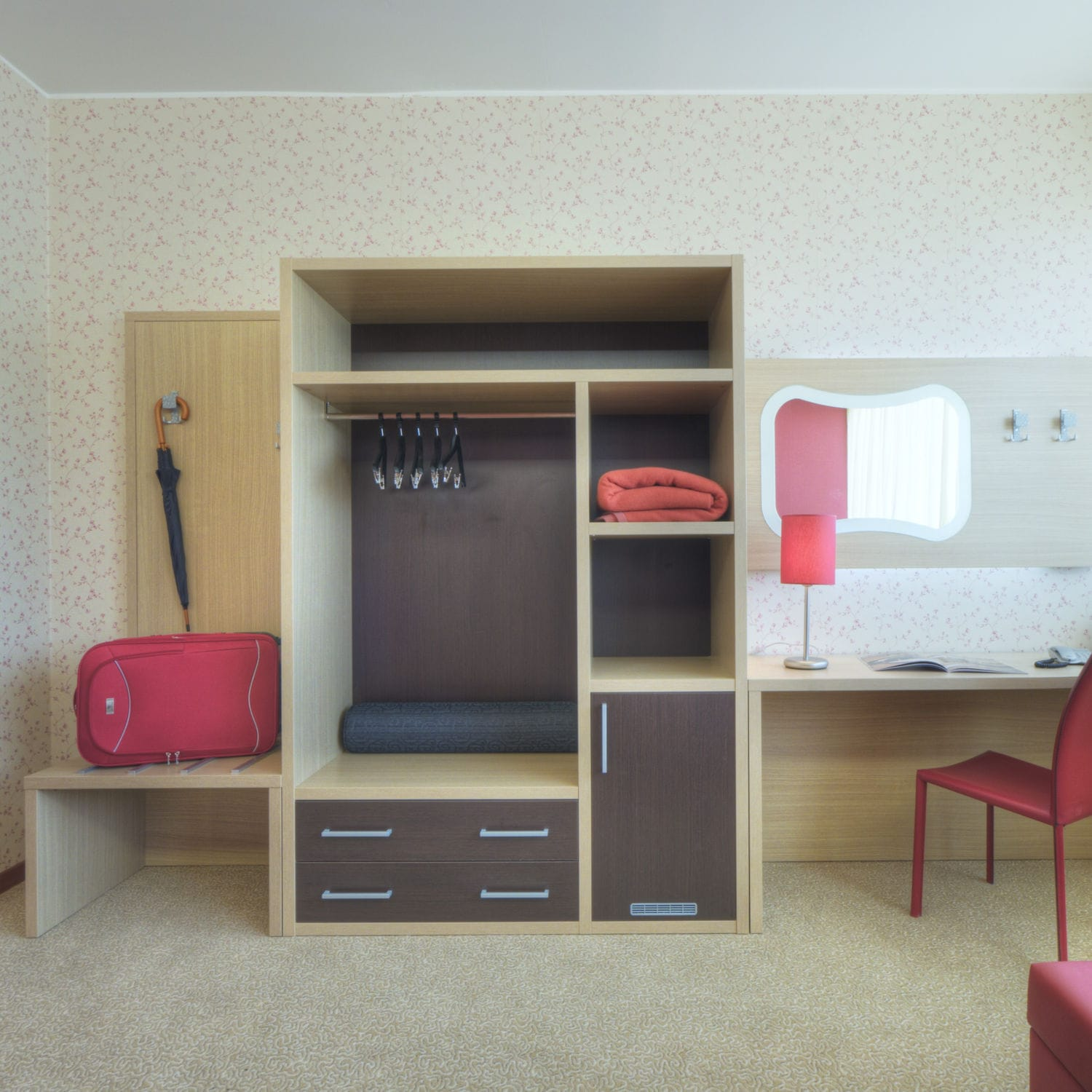 Contemporary Walk In Wardrobe / Wooden   HOTEL ROOM/OPEN WARDROBE WITH  DRAWERS/ZEUS 38MM/AR100