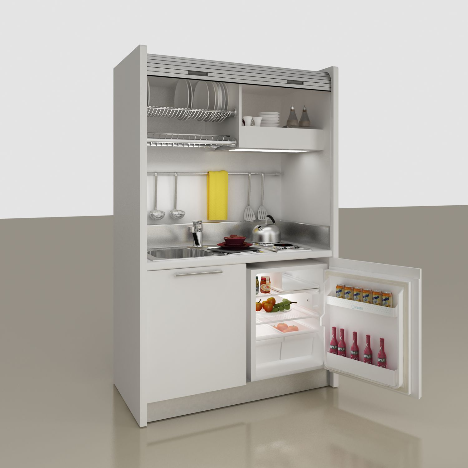 Contemporary Kitchen / Wooden / Compact / Contract   Monoblock Kitchen/Contemporary/Rolling  Shutter/K102 CM.127,6
