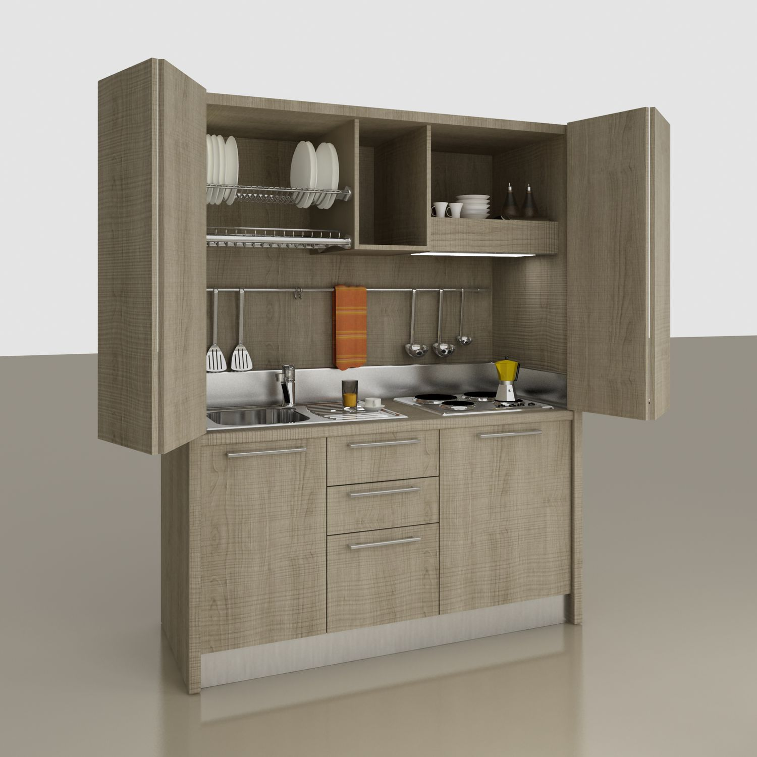 Contemporary kitchen / wooden / compact / contract - Monoblock ...