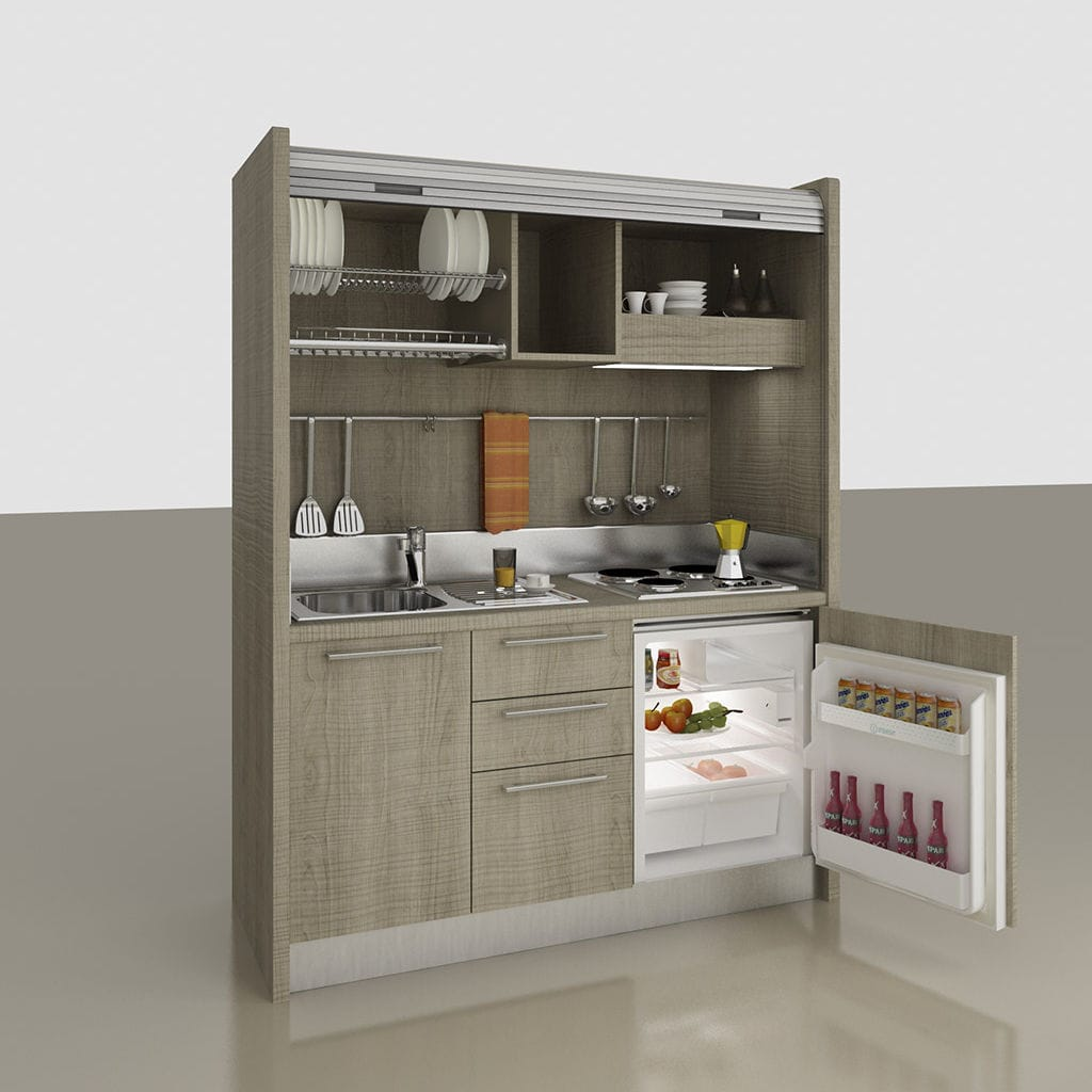 Beau Kitchenette With Integrated Appliances / Hidden / Compact / For Studio  Apartement   K 108
