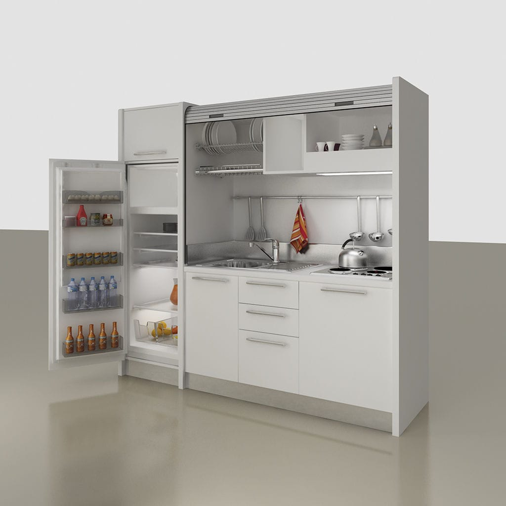 Kitchenette With Integrated Appliances Hidden Compact For