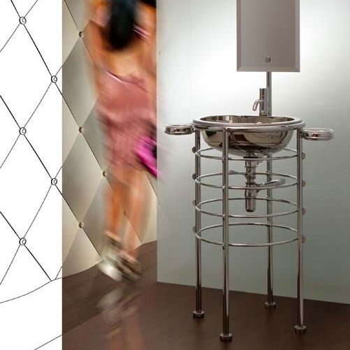 Free-standing washbasin / round / stainless steel / contemporary ...