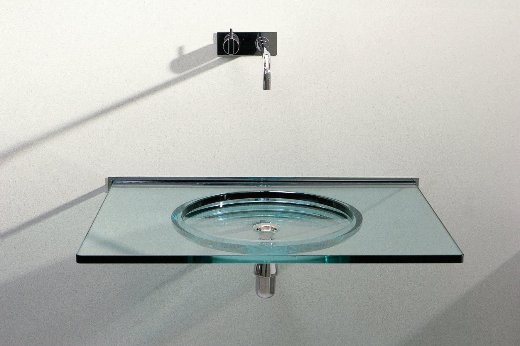 Glass Basins For Bathrooms   Wall Mounted Washbasin Rectangular Glass  Contemporary Nost By Studio Rapsel