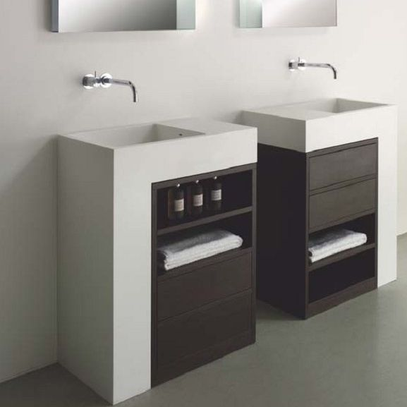 Free Standing Washbasin Cabinet Wenge Contemporary With Mirror