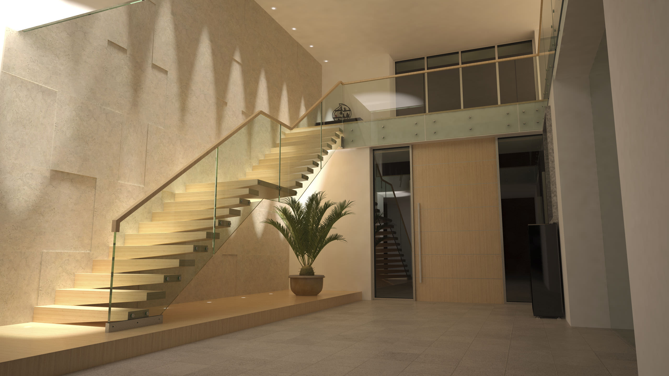 Stairs Treppen wooden steps staircase without risers contemporary