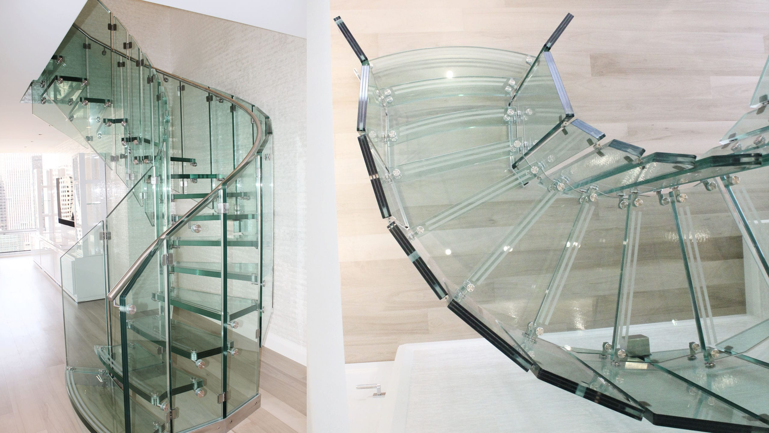 Helical Staircase Glass Frame Glass Steps Without Risers Fly