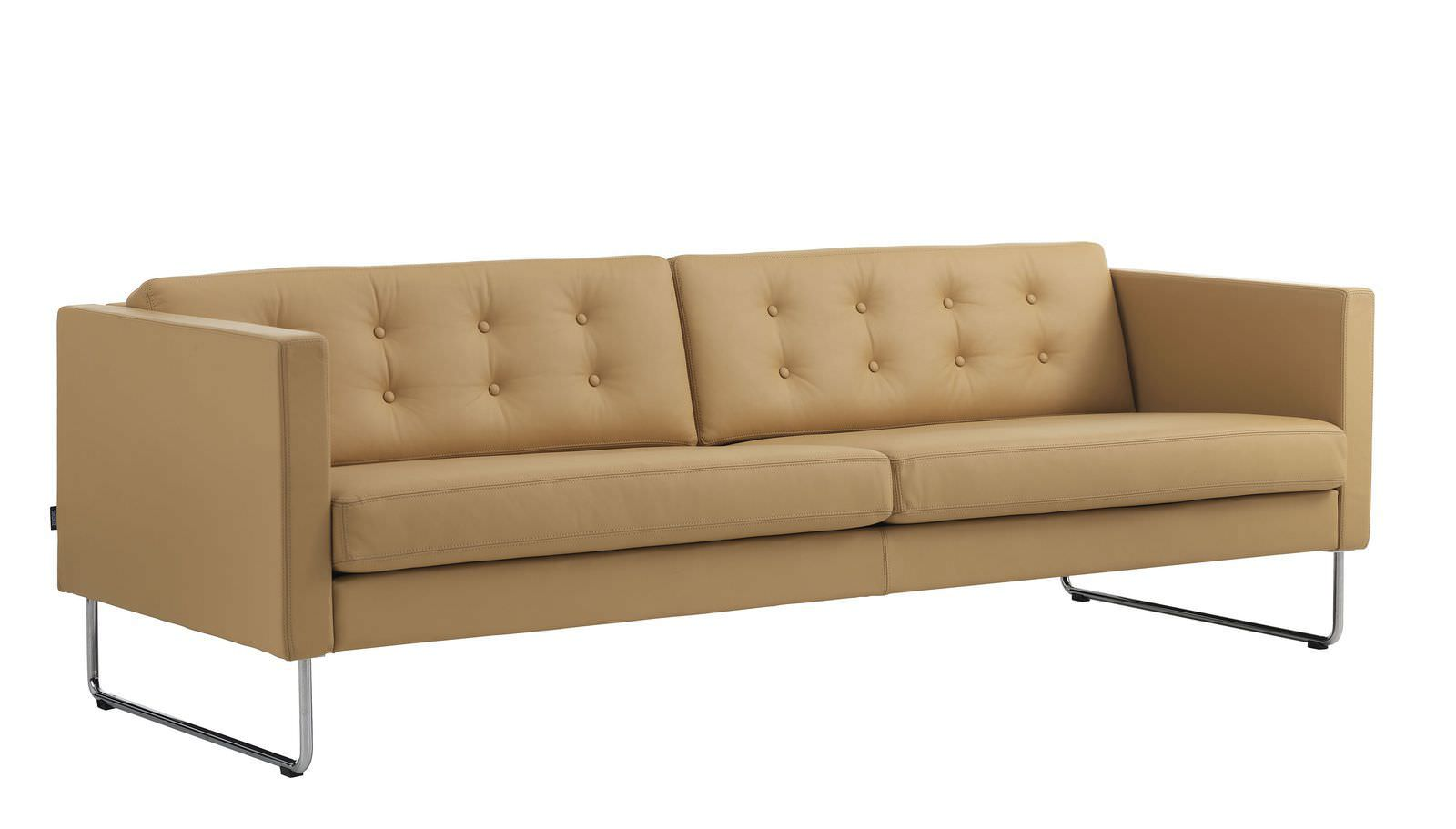 Contemporary sofa / leather / 3-seater / black - MADISON by Leila ...