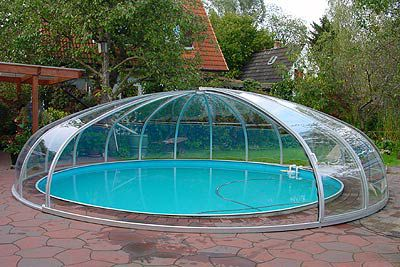 Pool Rund high swimming pool enclosure telescopic aluminum manual rund