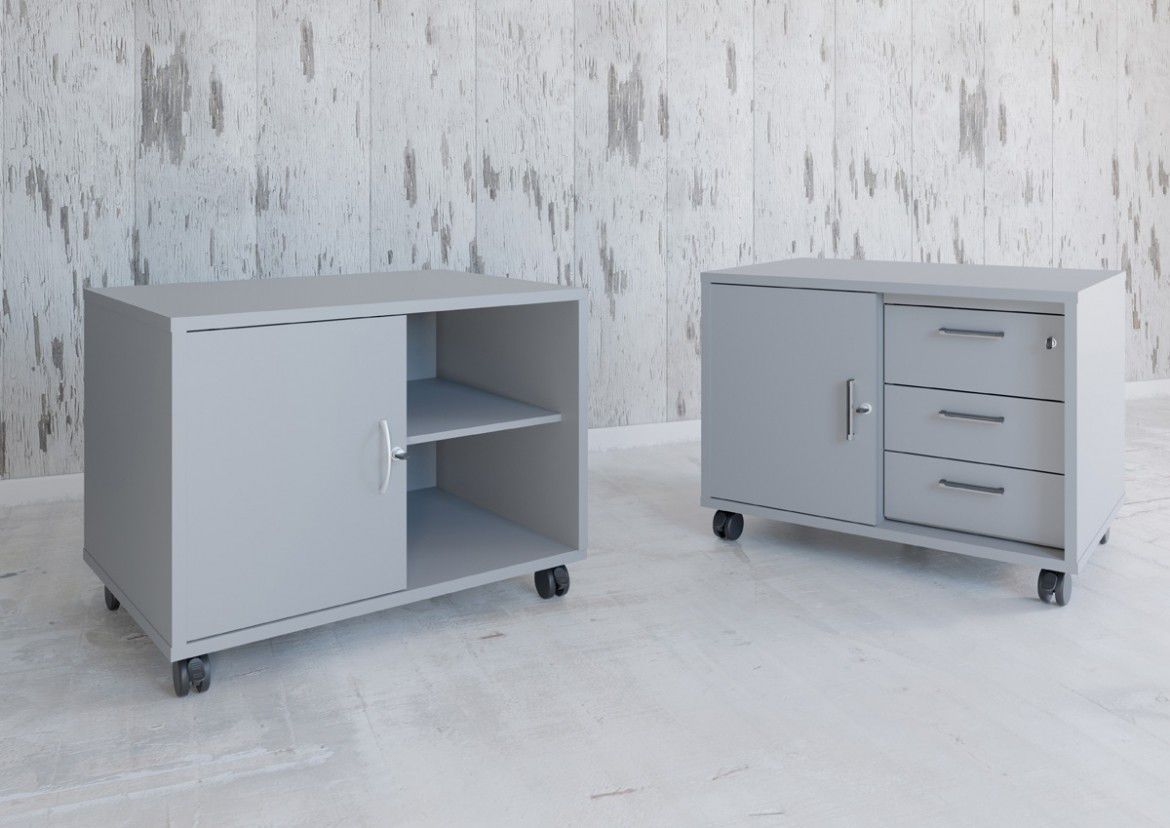 Metal Office Unit 3 Drawer 2 On Casters