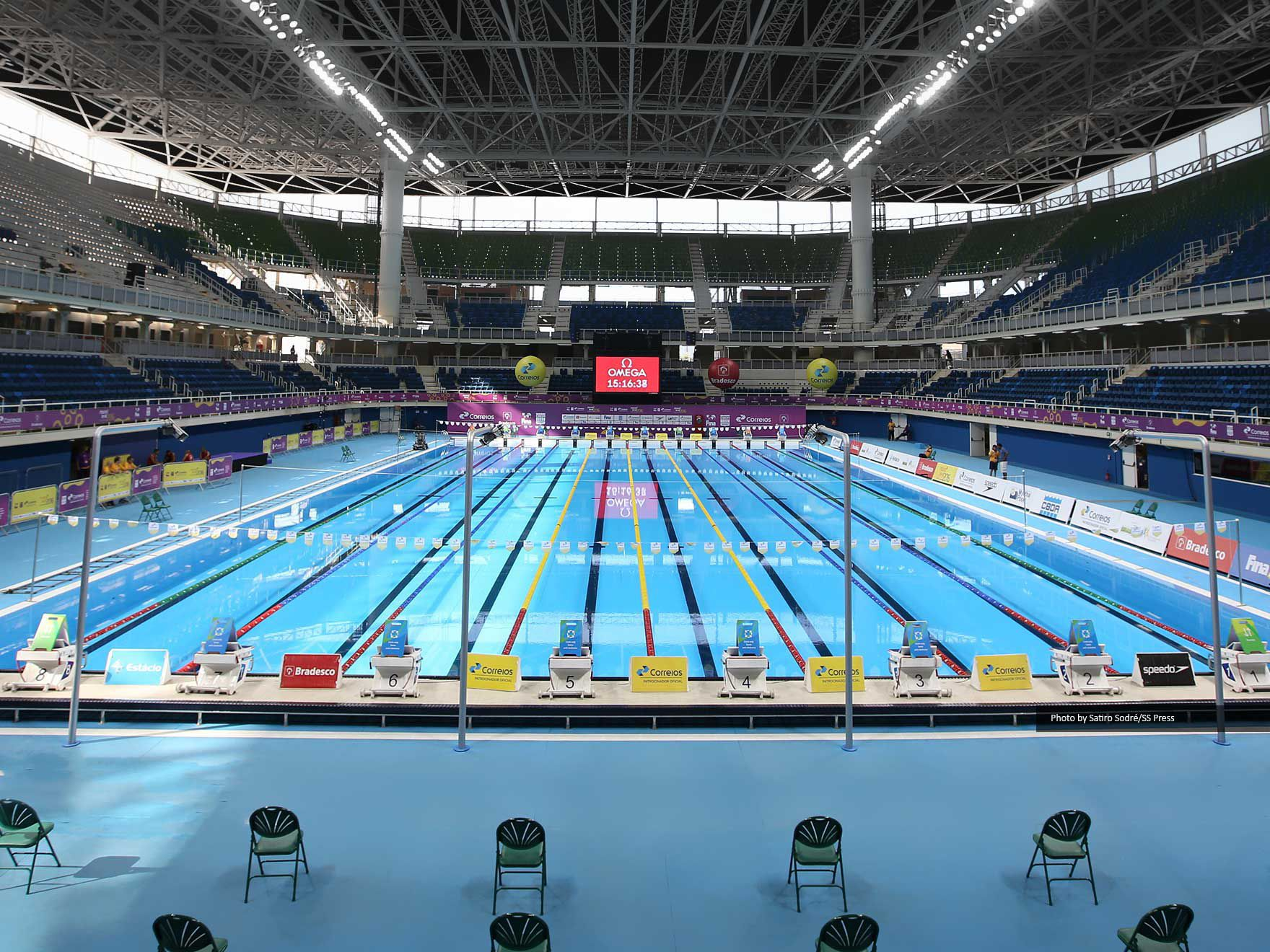 indoor olympic pool. Concrete Competition Pool / Public Indoor - RIO DE JANEIRO 2016, XXXI OLYMPIC GAMES Olympic I