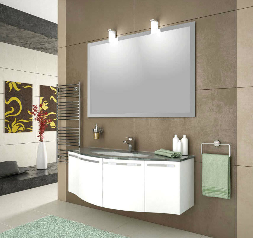 Wall-hung washbasin cabinet / PVC / contemporary / curved - FORM 1 ...