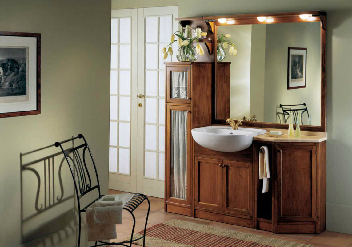 Free-standing washbasin cabinet / marble / solid wood / traditional ...