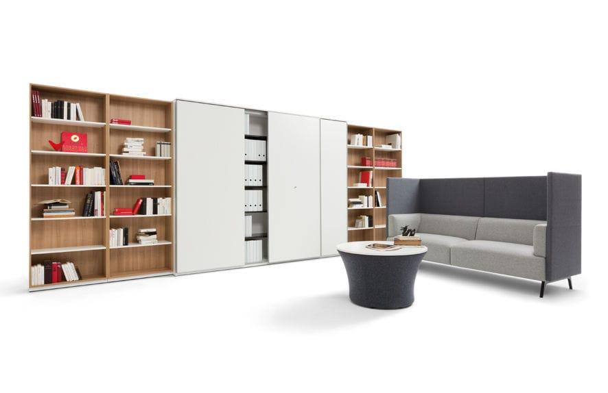 Tall filing cabinet / wood veneer / with hinged door / modular ...