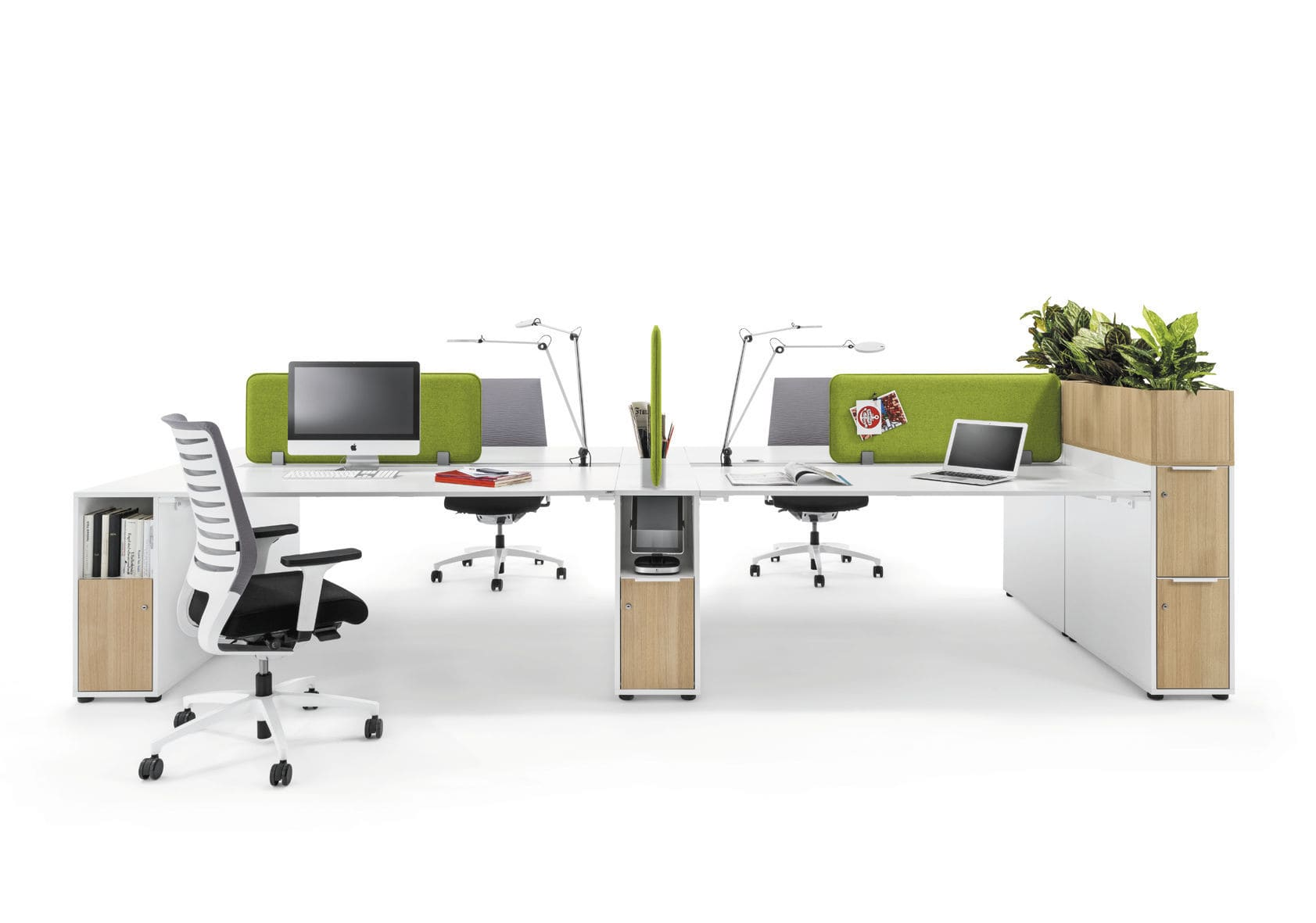 Commercial desk and storage set - WINEA SLIM by Michael Hilgers ...