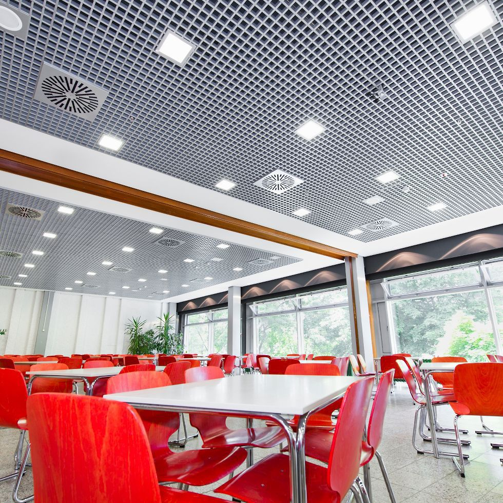 Metal suspended ceiling / tile / flame-retardant / perforated ...