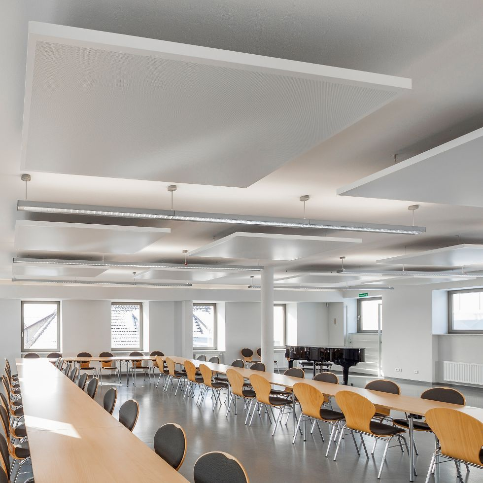 Metal suspended ceiling / tile / acoustic / perforated - EASY CANOPY ...