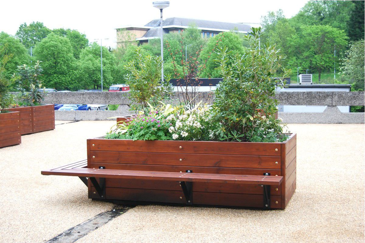 Wooden Planter Rectangular With Integrated Bench Contemporary