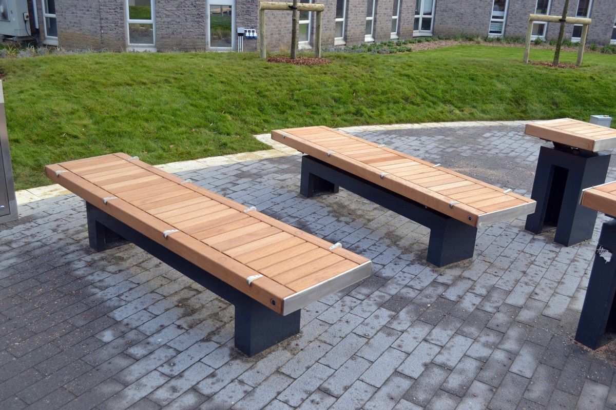 ... Public bench / contemporary / wooden / galvanized steel SHELDON Street  Design ...
