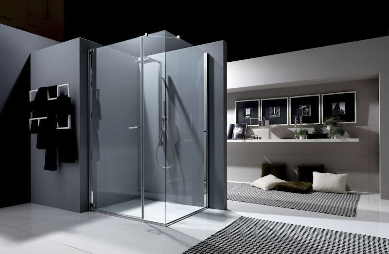 Swing shower screen / for alcoves / glass - NUBIAN: N1A - Bianchi ...