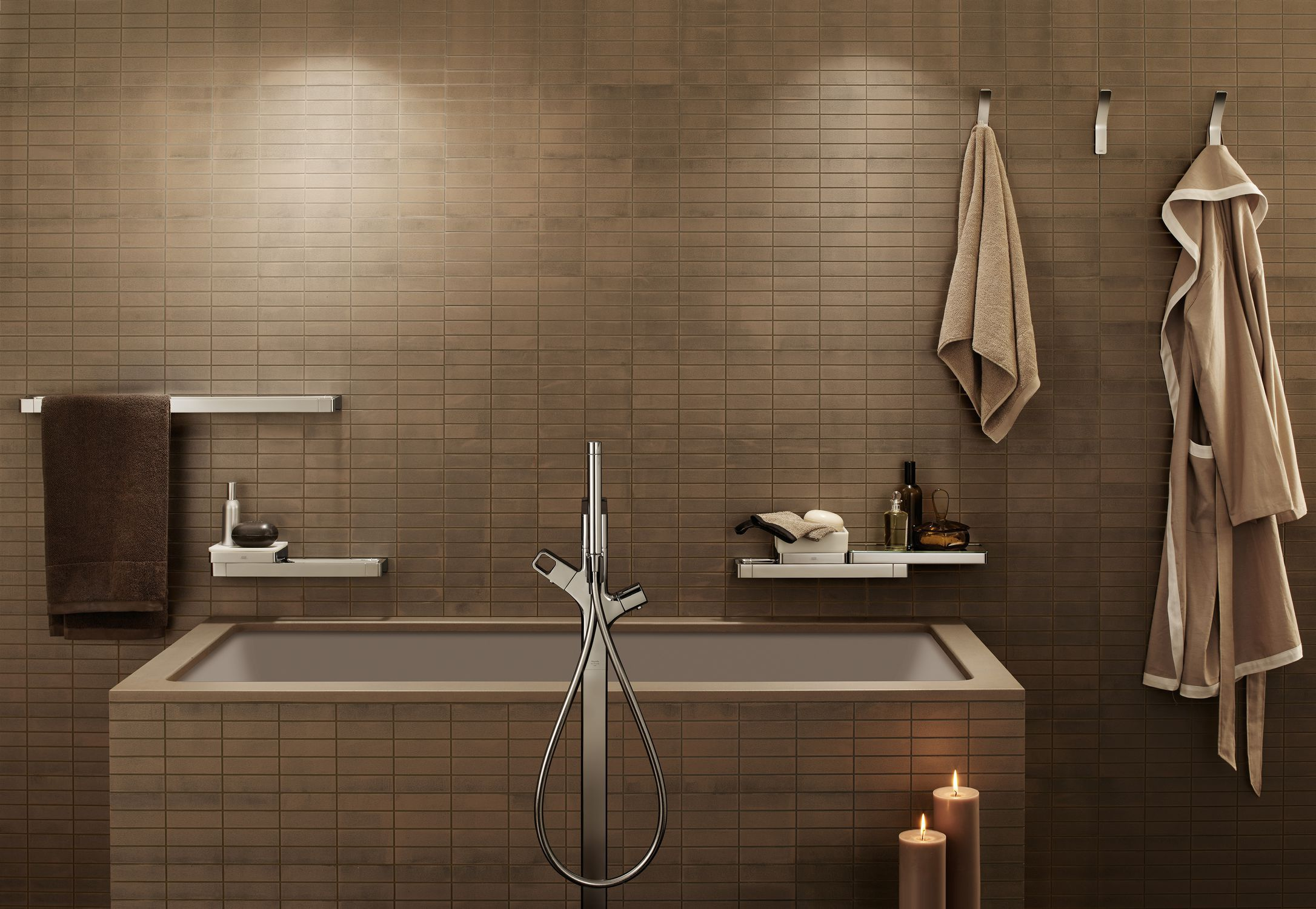 Bathtub mixer tap / floor-mounted / chromed metal / thermostatic ...