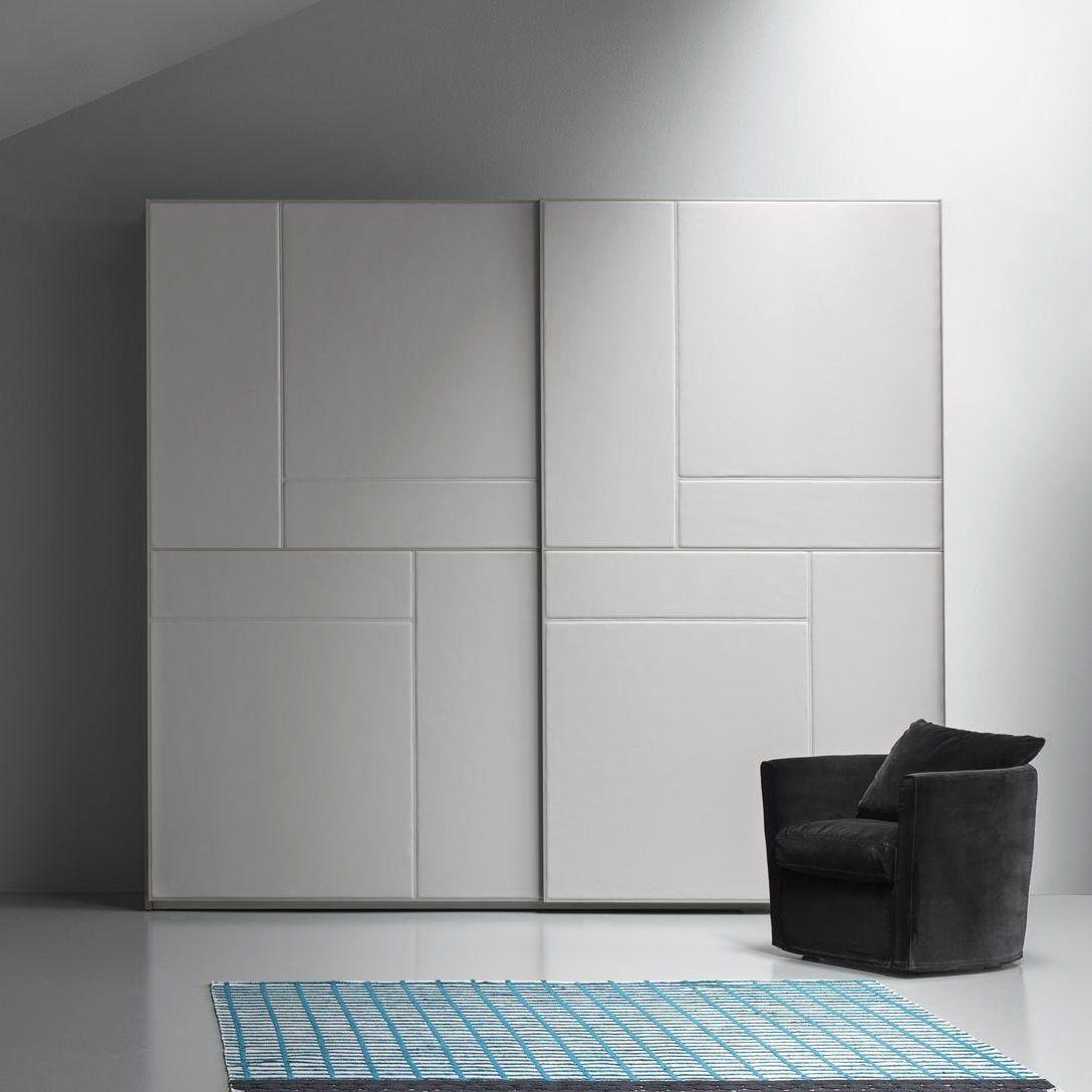 Contemporary Wardrobe Leather Sliding Door Tetris Pelle