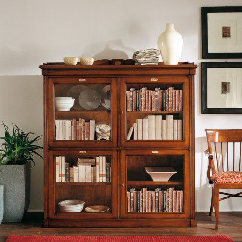 Traditional bookcase / wooden / glass-front. TAORMINA C907 BIZZOTTO ITALIAN  SENSATIONS - Traditional Bookcase / Wooden / Glass-front - TAORMINA C907