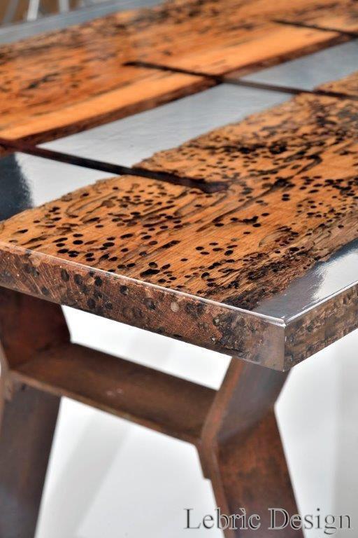 Contemporary Dining Table Wooden Resin Rectangular San Marco