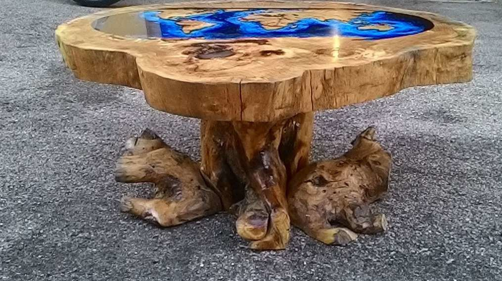 Contemporary Coffee Table / Wooden / Resin ...