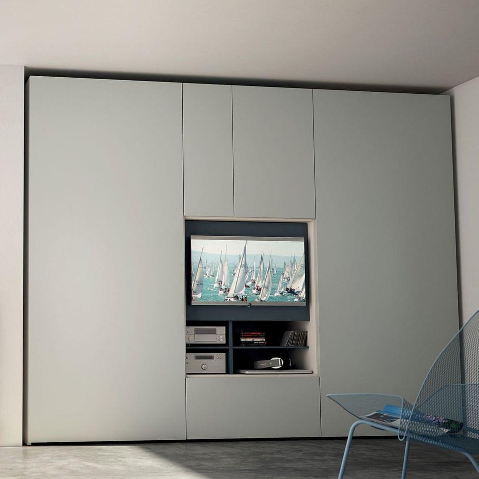 Contemporary Wardrobe / Wooden / Folding Door / With TV Screen   FLAT