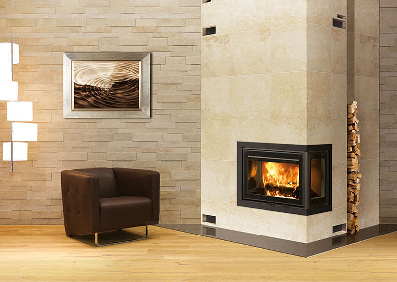 Wood fireplace insert / corner 2575CBS3 DOVRE France - Wood Fireplace Insert / Corner - 2575CBS3 - DOVRE France