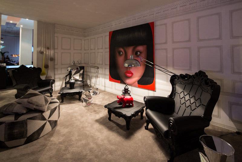 New Baroque design armchair / polyethylene / white / red - QUEEN OF ...